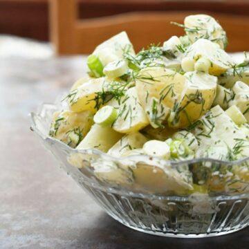 Vegan dill potato salad in a glass bowl