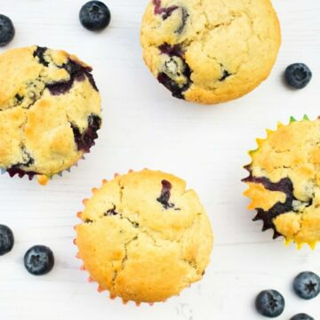 An overhead shot of blueberry ginger muffins
