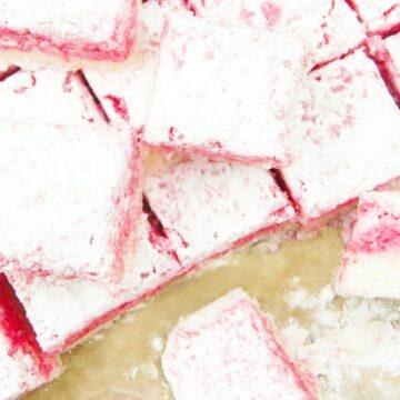 Vegan coconut ice cut into squares