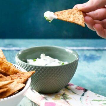 Vegan lemon chive dip with tortilla chips