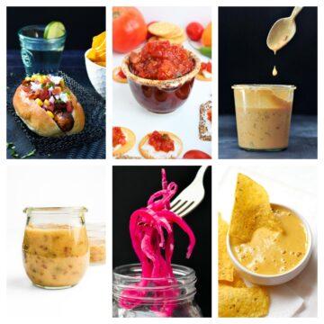 a selection of vegan salad dressings in jam jars