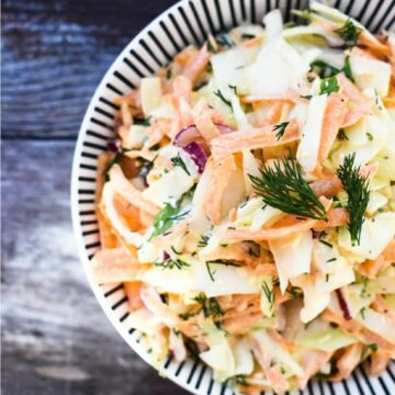 Vegan carrot and dill slaw in a bowl