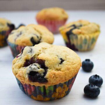 vegan blueberry ginger muffins