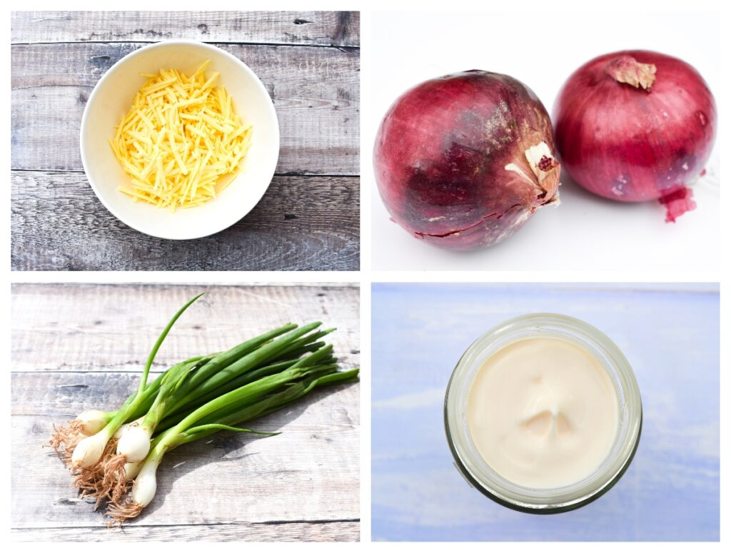 Ingredients to make Cheese & Onion Sandwich Filler - vegan cheese, red onion, spring onions and vegan mayo