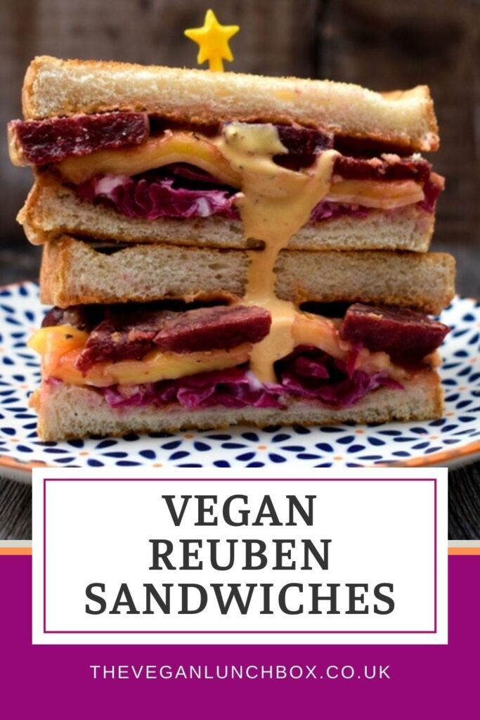 This delicious vegan Reuben Sandwich is toasted and includes a drizzle of Vegan Russian Dressing.