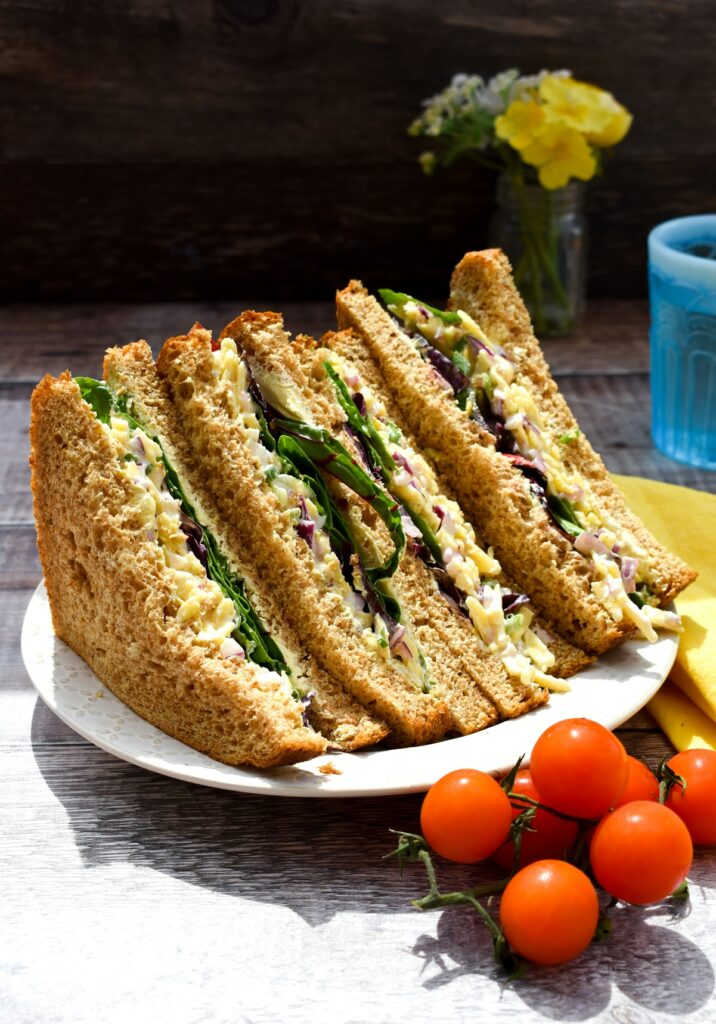 cheese and onion sandwich filler on wholemeal bread