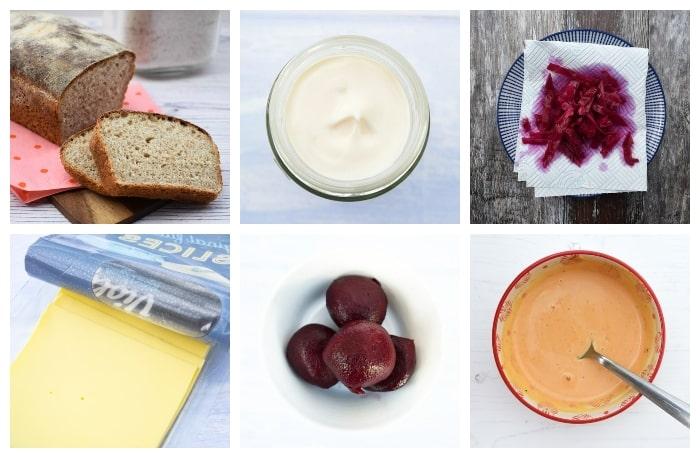 ingredients for a vegan Reuben sandwich