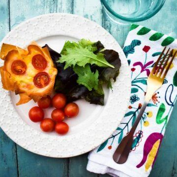 Vegan cheese red pepper filo hand pies