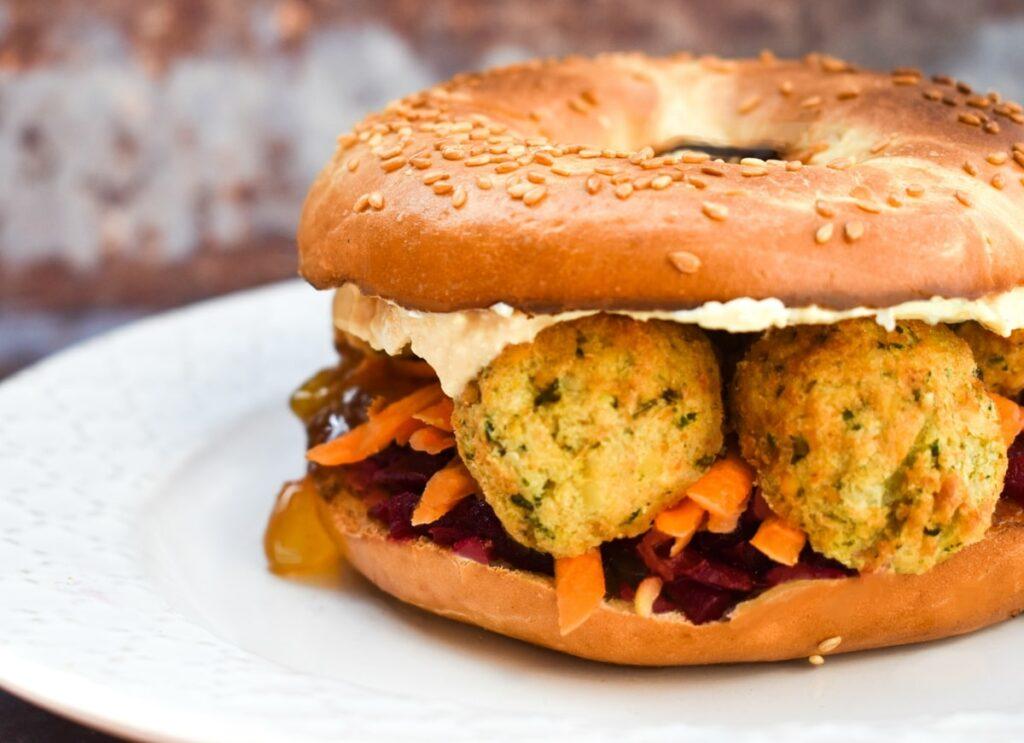 falafel beetroot bagel sandwich