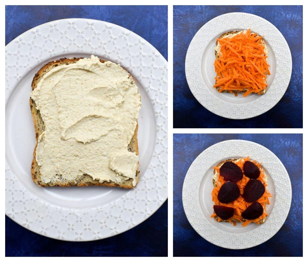 Making Vegan Hummus Beet Sandwich - Step 1 - first three filling ingredients