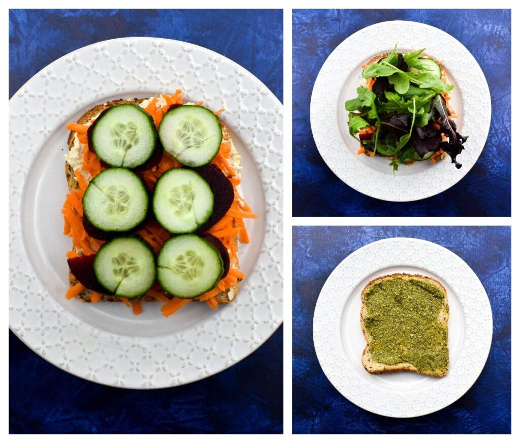 Making Vegan Hummus Beet Sandwich - Step 2 -next filling ingredients