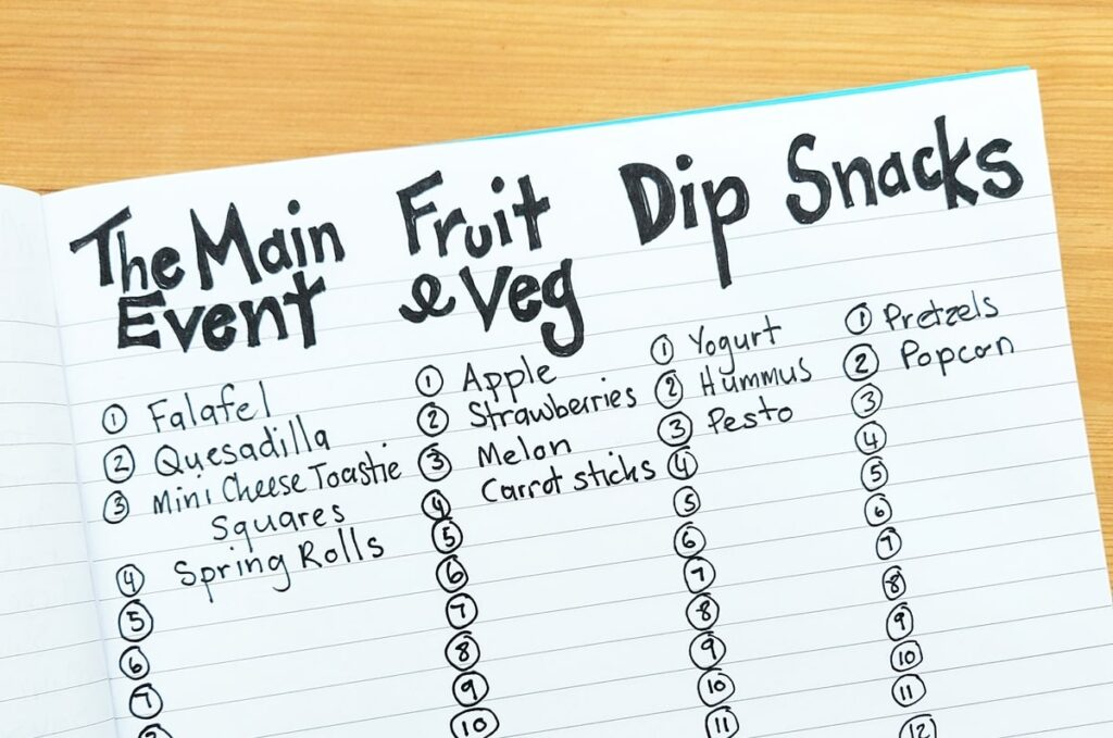 picky eaters meal plan in a note book
