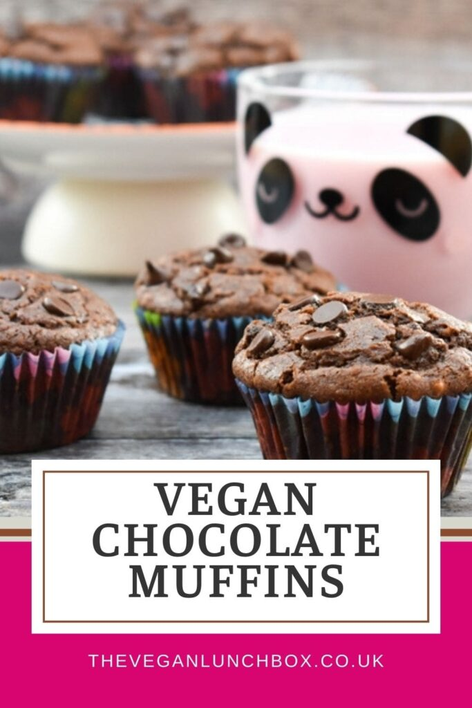 Little back-to-school easy vegan chocolate muffins for kids lunchboxes or an after-school treat.