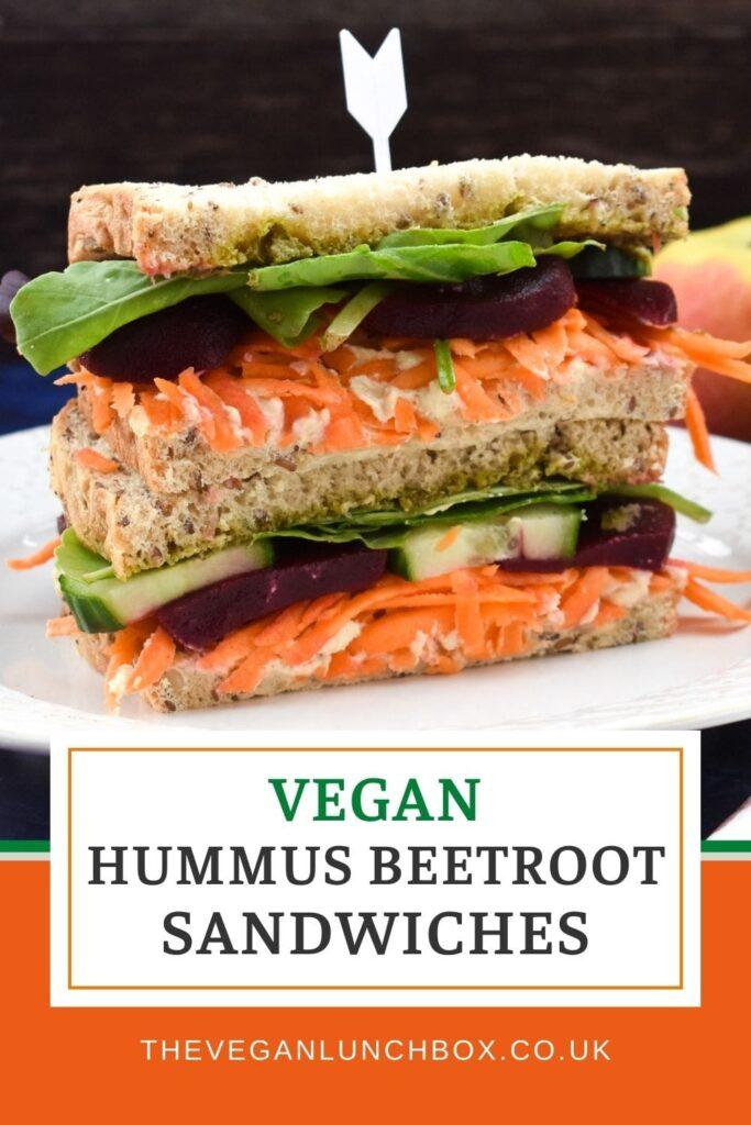 Vegan Hummus Beet Sandwich - The most delicious lunchtime, vegan hummus beet sandwich packed with lots of salad.