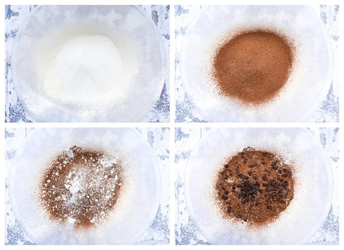 Making Vegan Chocolate Muffins - step 2 - dry ingredients added