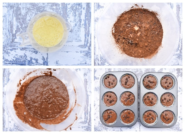 Making Vegan Chocolate Muffins - step 3 - wet ingredients added to try and mixed