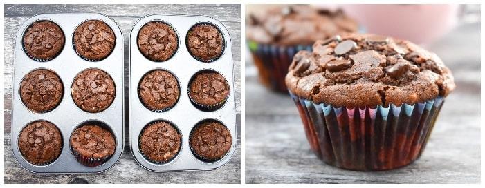 Making Vegan Chocolate Muffins - step 4 - muffins baked