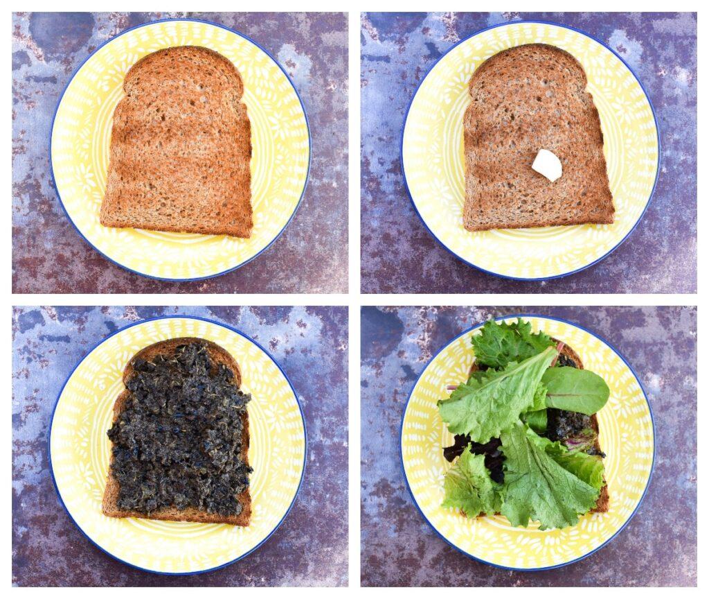 black olive and tomato toastie - step 1