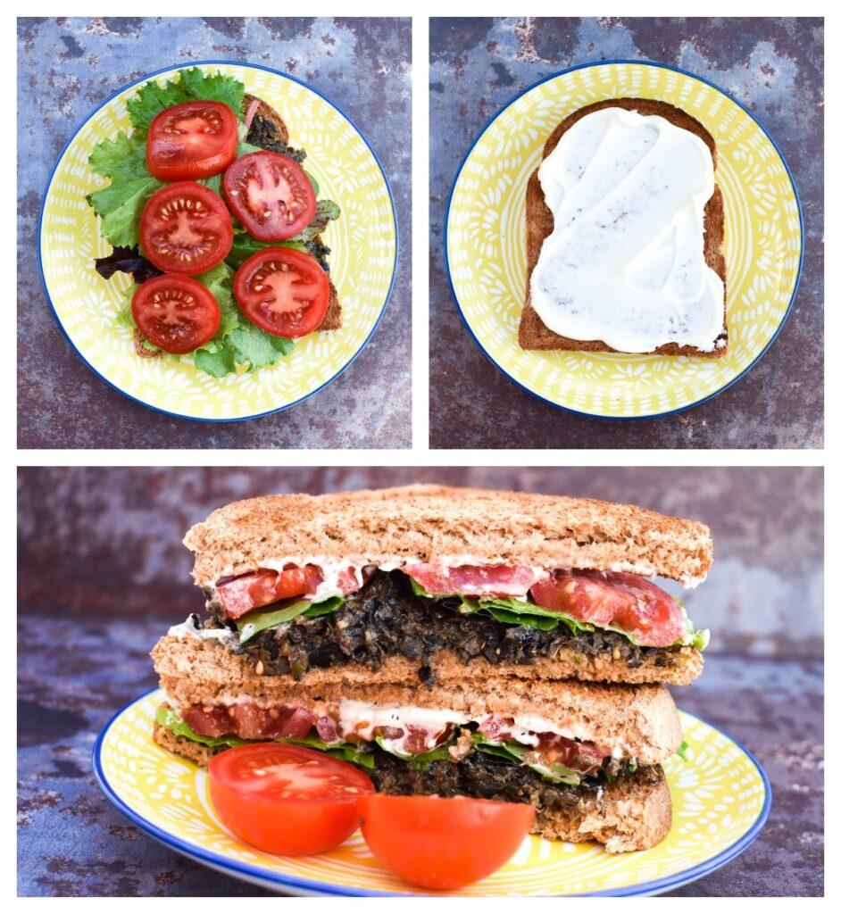 black olive and tomato toastie - step 2