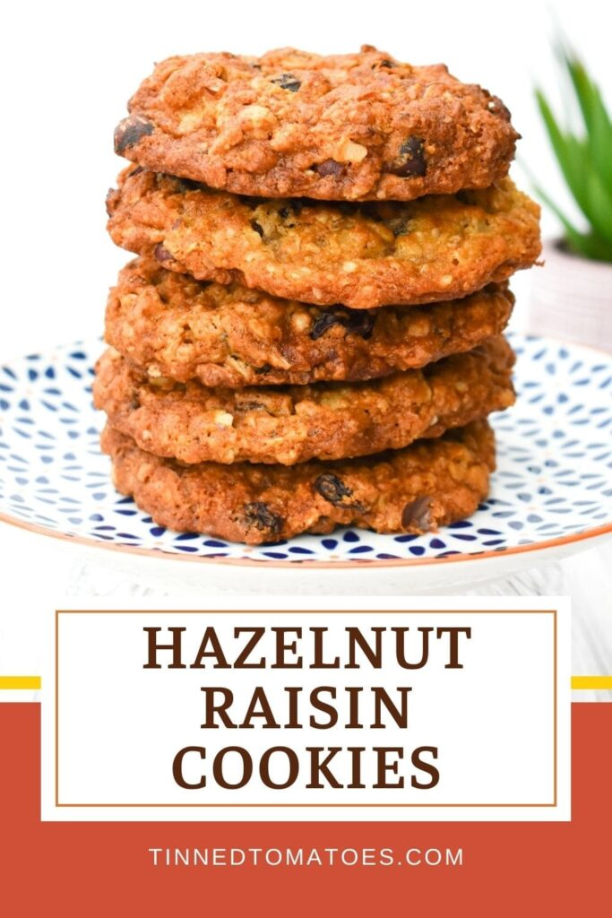 Easy Vegan Hazelnut & Raisin Cookies made with oats and golden syrup