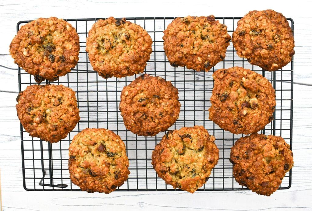 hazelnut cookies on a baking rack