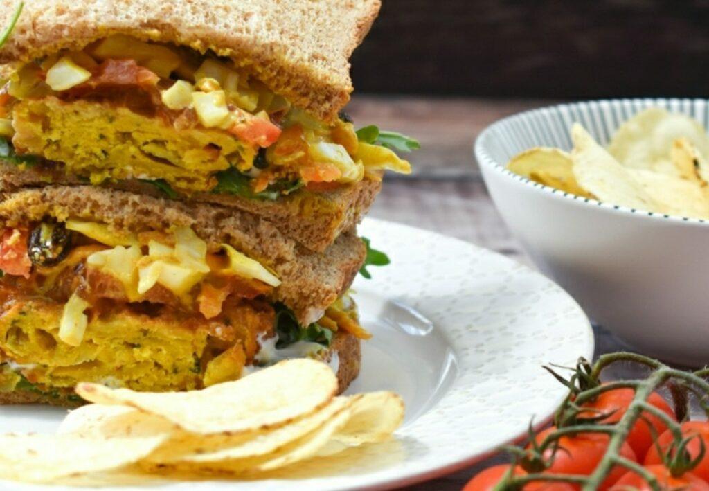 spicy onion bhaji slaw sandwich