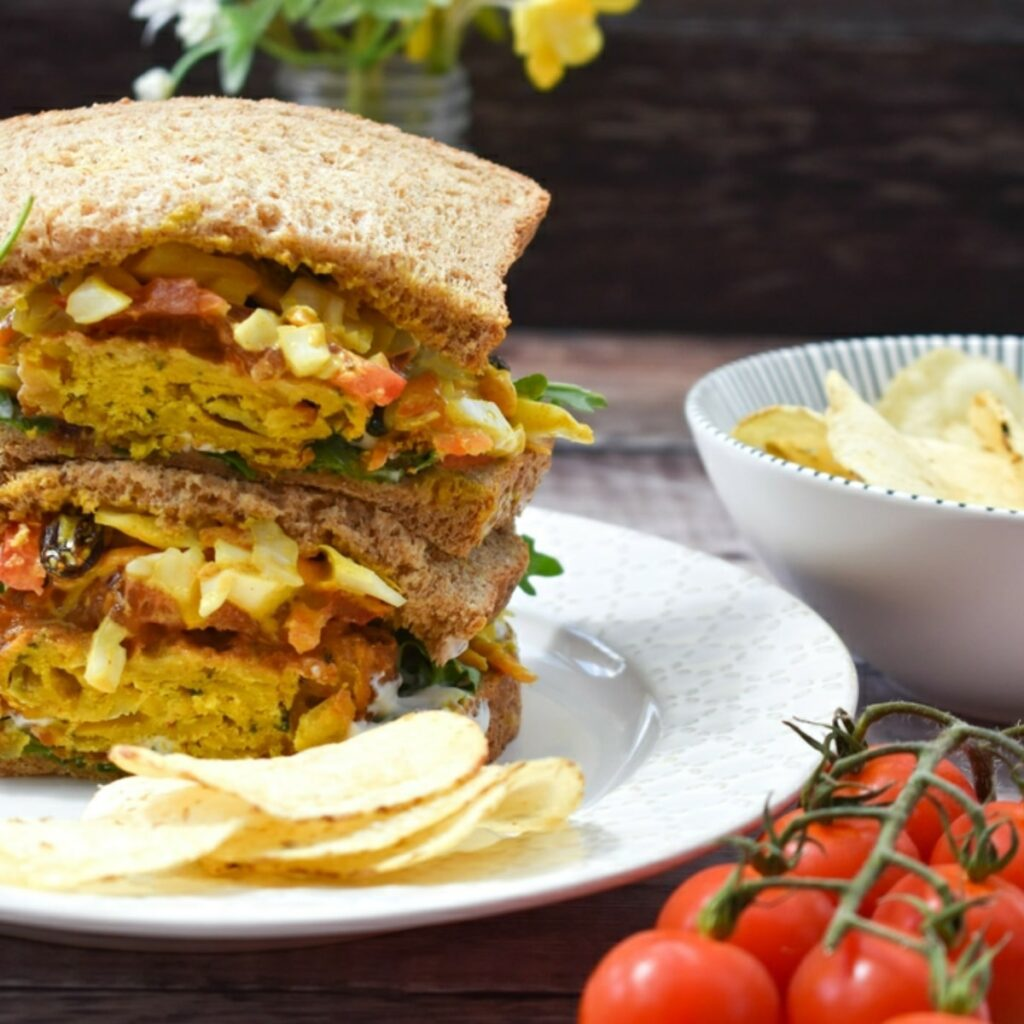 vegan onion bhaji sandwich
