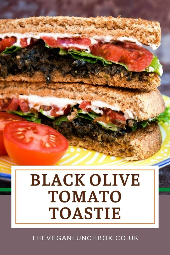 Vegan black olive and tomato toasties. A delicious lunchtime toasted sandwich made with olive tapenade