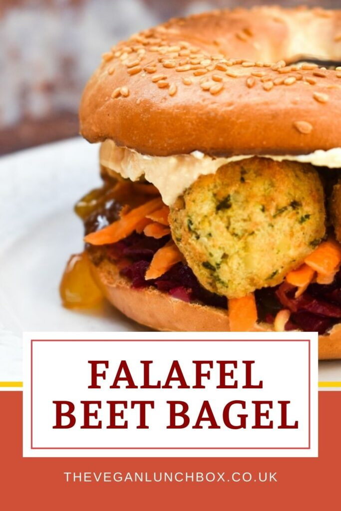 This delicious, toasted bagel sandwich is filled with falafel, shredded vegetables and a tangy sauce for the most satisfying and tasty lunch.