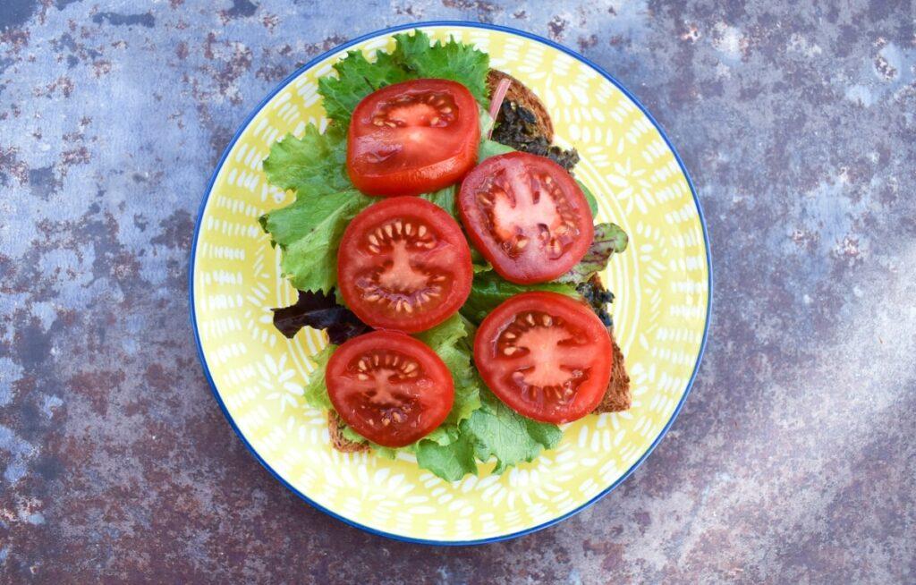 ripe salad tomatoes sliced on a toastie